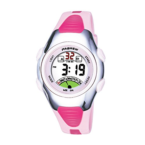 Pasnew kids digital watches kids watches LED and Dejan watch waterproof specifications Monday, CAs re view unisex sport Watch (Pink)