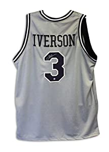 Allen Iverson Georgetown Hoyas Autographed Hand Signed Gray Throwback Jersey - Size...