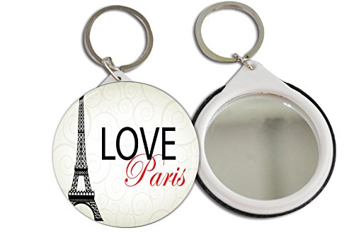 Rikki Knighttm Love Paris Design With Eiffel Tower Design 2.25 Inch Keychain Button Mirror Key Chain