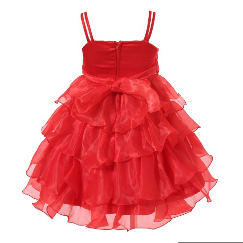 Richie House Girl's Red Layered Dress with Rosette and Pearl Accents RH0918-F-5/6