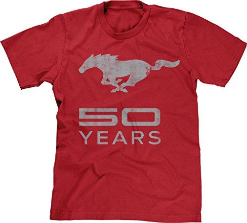 Blittzen Mens T-shirt Mustang 50 Years Gray, XL, Red