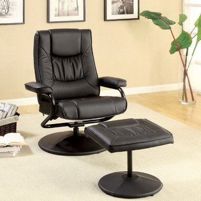 Slate Leatherette Swivel Recliner Chair And Ottoman front-876502