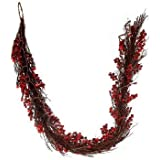 6' Battery Operated Pre-Lit LED Cranberry Twig Garland - Red Lights