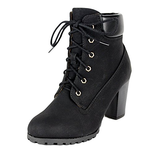 Womens Rugged Lace Up Stacked High Heel Ankle Boots Black Sz 7