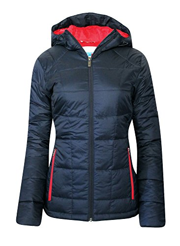 Columbia Women's Discovery Peak II OMNI HEAT HOODED PUFFER Jacket NAVY RED (L) (Womens Columbia Peak Jacket compare prices)