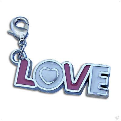 Bettelarmband Anhänger, LOVE lila/weiss Mega Charm #8310, Bettelanhänger