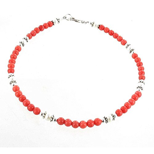Coral Malaysian Soapstone & Fresh Water Pearls Anklet Accented with Tibetan Daisies