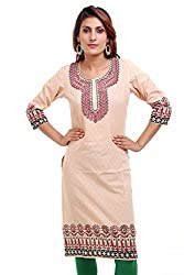 Aamii Women's Cotton Kurta(Aamii761_Pink_Small)