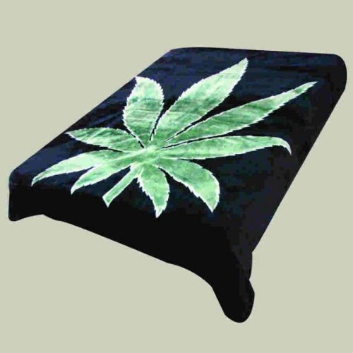 Cheapest Prices! Super Soft Luxury Plush Queen Size Mink Blanket - Green Marijuana Pot Leaf On Solid...