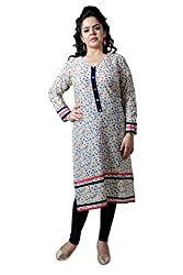 Kittus Fashion House Women's Cotton Straight Kurti (Kskrt-1076_Off White_Xx-Large)
