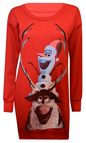 MyMix-Trendz-Womens-Rudolph-and-Frozen-Olaf-Printed-Novelty-Christmas-Sweatshirt-Jumper