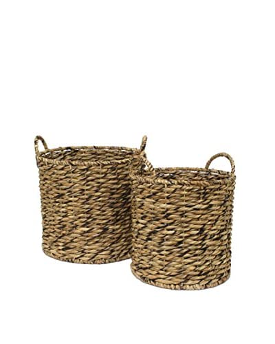 Three Hands Set of 2 Water Hyacin Baskets, Natural As You See