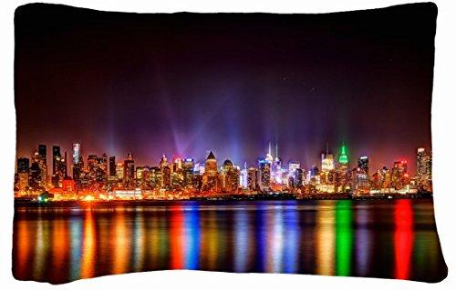 Microfiber Peach Queen Size Decorative Pillowcase -City City Night Lights front-988442