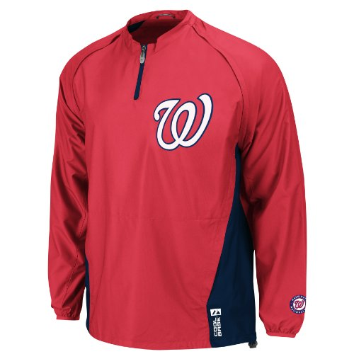 MLB Washington Nationals Long Sleeve Lightweight 1/4 Zip Gamer Home Jacket, Red/Navy, X-Large at Amazon.com