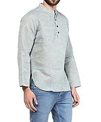 VIVIDS INDIA MENS Cotton Short Kurta (Light Blue , G-143 - M)