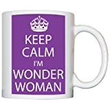 M Print Keep Calm I'M Wonder Woman Mug - Printed In Purple - 10oz