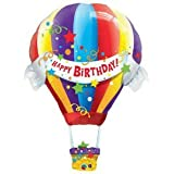 Happy Birthday Hot Air Balloon Jumbo Foil Balloon (Multi-colored) Party Accessory