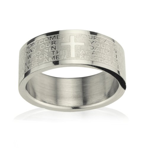 English Lord's Prayer Stainless Steel 8mm Men Band Ring