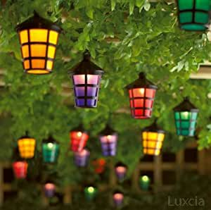 40 Led Coloured Lantern Garden Light Lamp Festive Outdoor String Patio Party Blue Yellow Green ...