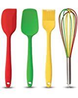Set di 4 Utensili da Cucina - Cucchiaio/Raschietto, Frusta, Spatola e Pennello in Silicone - Grande Regalo di Natale