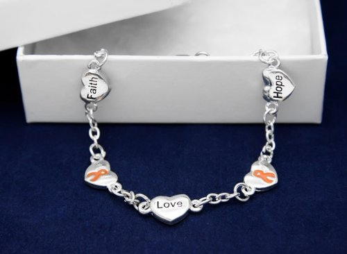 Orange Ribbon Bracelet-Hope, Faith, Love (18 Bracelets)
