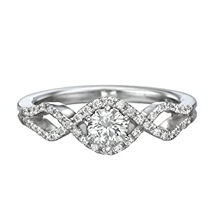 IGI Certified 14k white-gold Round Cut Diamond Engagement Ring (0.49 cttw, H Color, VS1 Clarity)