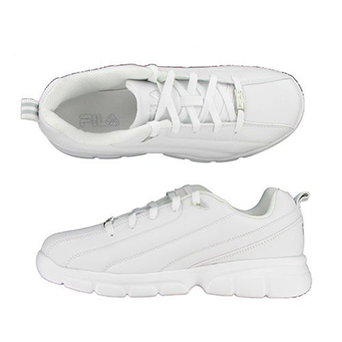 Fila Men's Leverage Training Shoe, White/Silver, 11.5 M US