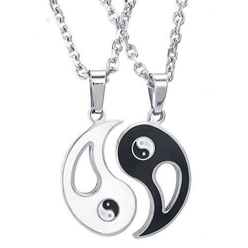 CrazyPiercing Mens Womens Lovers Couple Stainless Steel Yin Yang Two Piece Pendant Necklace Set