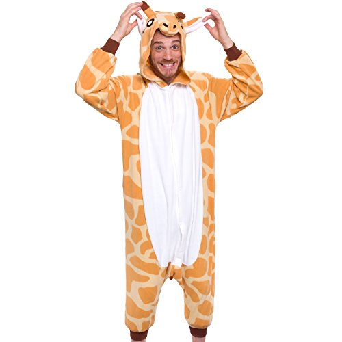 Silver Lilly Adult Pajamas - Plush One Piece Cosplay Animal Costume (Giraffe, L)