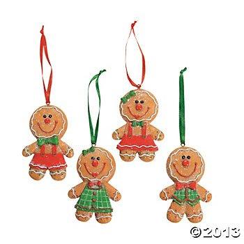 Dozen (12) Adorable Big Head GINGERBREAD Man/Boy/Girl Cookie CHRISTMAS Tree ORNAMENTS/GLITTERY Resin 3.5
