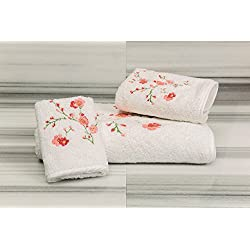 Talesma Cherry Blossom Towels Set, Small, White/Red