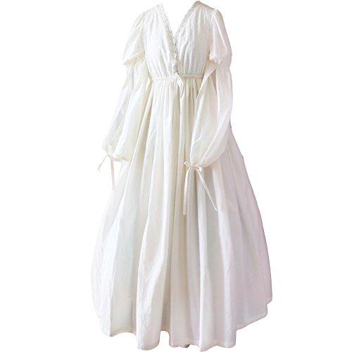Europäischen Stil Langarm Vintage Design Nachthemd Weiß Romantische Klassik Princess Nachthemd (Free Size, SSL01)