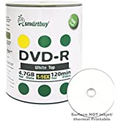 Smart Buy 100 Pack DVD-R 4.7gb 16x White Top Blank Data Video Movie Record Disc 100 Disc 100pk