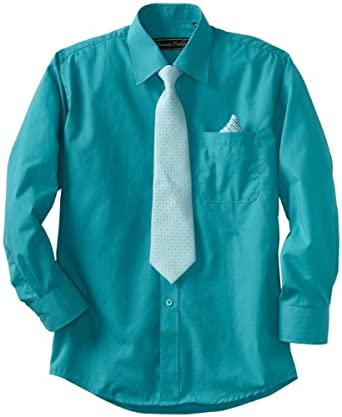 American Exchange Big Boys' Dress Shirt With Tie And Pocket Square, Aqua, 8