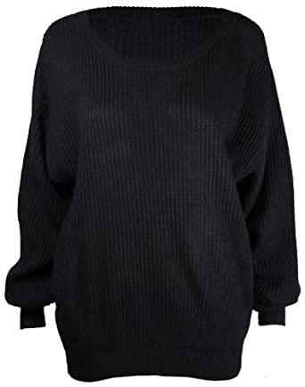 Ladies New Plain Chunky Knit Loose Baggy Oversized Jumper Tops Womens Long Sleeve Knitted Sweater Top Black Size 8 10