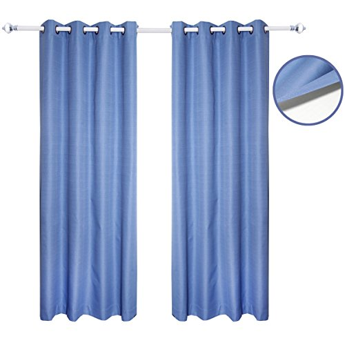 Jinchan Thermal Insulated Lined Blackout Grommet Window Curtains / Drapes for Bedroom,Coating Fabric, One Panel (50 X 84 Inch , Blue) (French Door Panel Curtains Blue compare prices)