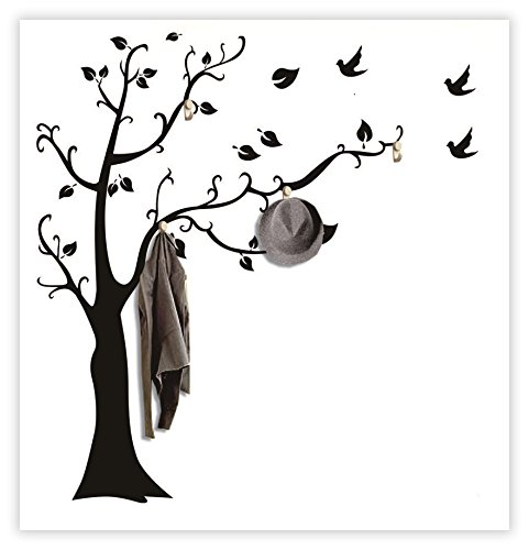 Dream Wall Wall Decal with Hanging Hooks, Ebony Tree