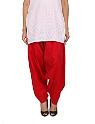 Womens Cottage Red Pure Cotton Semi Patiala Bottoms
