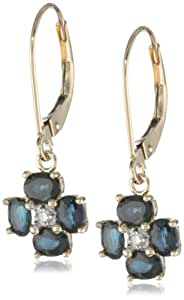 14k Yellow Gold Blue Sapphire and Diamond-Accent Floral Dangle Leverback Earrings
