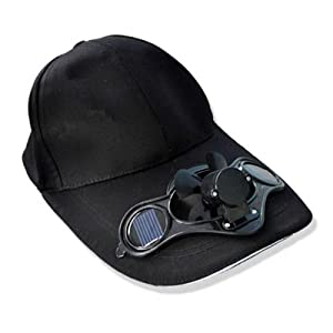 Daditong Black Solar Power Hat Cap Cooling Cool Fan for golf Baseball