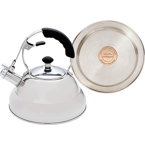 Chef's Secret KTTKC Surgical Stainless Steel Tea Kettle with Copper Capsule Bottom, Mirror Finish, 2.75 Quarts (Antique Tea Kettle Whistle compare prices)