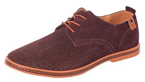 Serene Mens Leather Plain Toe Breathable Outlet Dress Shoes Casual Oxfords(11 D(M)US,brown)