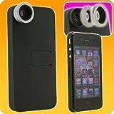 プリンストンテクノロジー iPhone4用 マクロ&ワイドレンズキット(ブラック) PIP-CK4MB