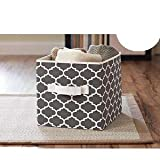 Better Homes and Gardens Collapsible Fabric Storage Cube - Grey Lattice