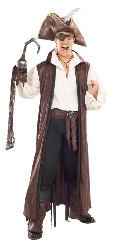 Distressed Suede Long Pirate Coat Adult Costume