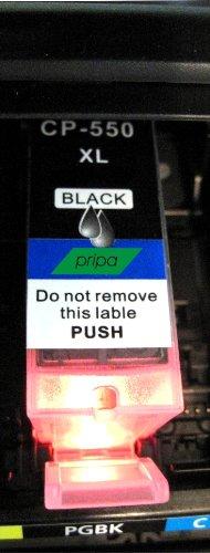 pripa - 1 kompatible PGI 550 XL - bk Text schwarz - Canon Pixma iP MG MX + Chip + Füllstandsanzeige