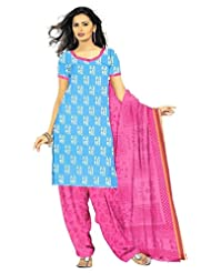 DARPAN TEXTILES Ethnicwear Women's Dress Material(DTPCVARLITBLUE-7_Turquoise_Free Size)