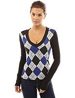 PattyBoutik Women's Smart V Neck Checkers Long Sleeve Knit Top