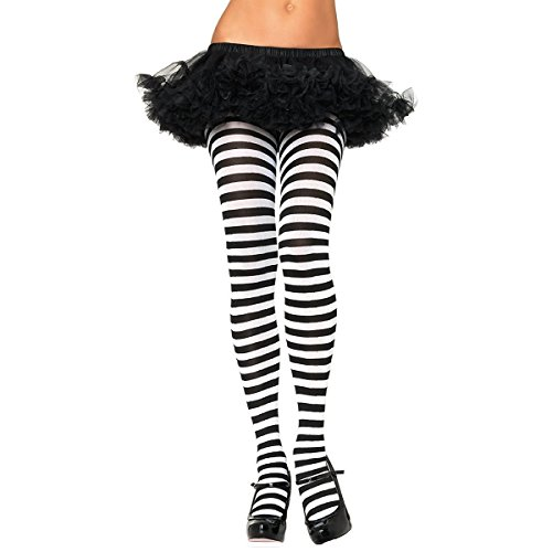 [GSG Tights for Women Adult Nylon Striped Pantyhose Hosiery Regular & Plus Size] (White And Black Swan Halloween Costumes)