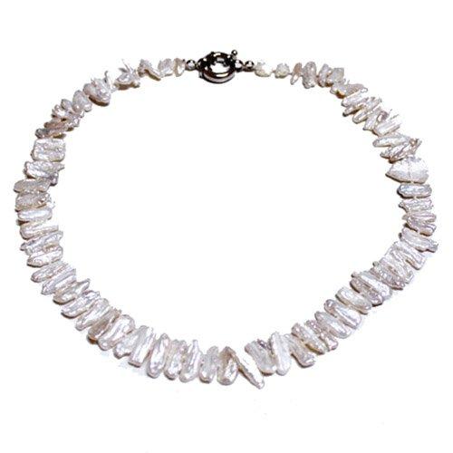AA White Biwa Pearl Necklace, 19